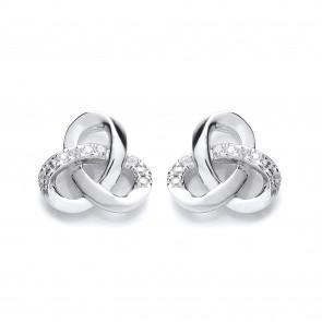 RP Silver Earrings FF CZ Knot Studs