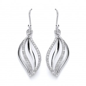 RP Silver Earrings HW CZ Open Leaf Drops
