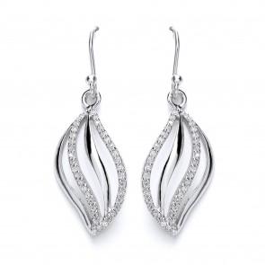RP Silver Earrings HW CZ Open Leaf Drops