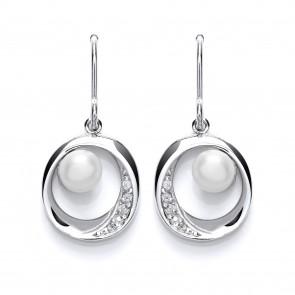 RP Silver Earrings HW FWP/CZ Open Round Drops
