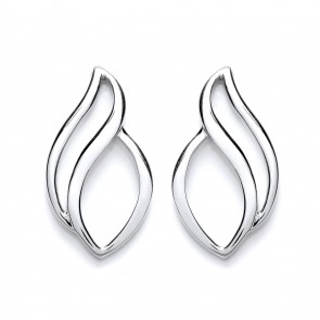 RP Silver Earrings FF Open Polished Studs