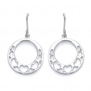 RP Silver Earrings HW Open Round Heart Drops