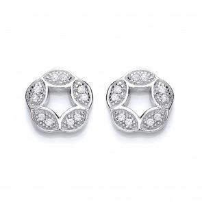 RP Silver Earrings FF CZ Open Round Suds