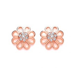 RGP Silver Earrings FF CZ Open Flower Studs
