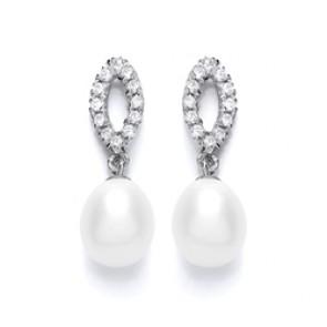 RP Silver Earrings FF CZ/FWP Drops