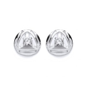 RP Silver Earrings FF CZ Studs