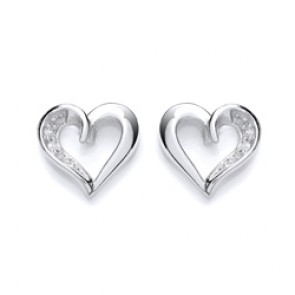 RP Silver Earrings FF CZ Open Heart Studs