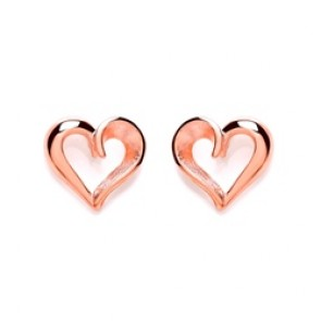 RGP Silver Earrings FF Matt/Polish Open Heart Studs