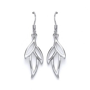 RP Silver Earrings HW Open Leaf Drops