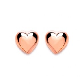 Rose Gold Plated Silver Earrings F.F. Heart Studs