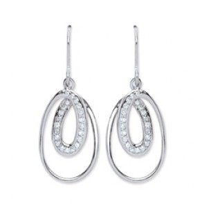 Rhodium Plated Silver Earrings H.W. C.Z. Open Drops
