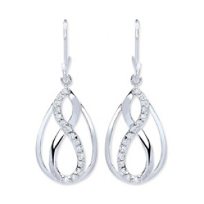 Rhodium Plated Silver Earrings H.W. C.Z. Infinity Drops
