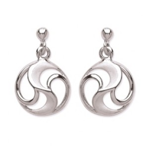 Rhodium Plated Silver Earrings F.F. Polish/Matt Drops