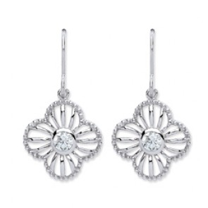 Rhodium Plated Silver Earrings H.W. C.Z. Drops