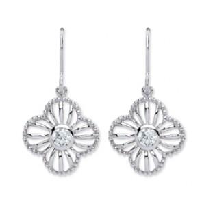 Rhodium Plated Silver Earrings H.W. C.Z. Drops