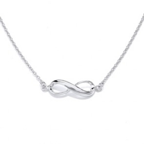 Rhodium Plated Silver Necklet Infinity