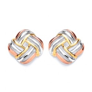 3 Colour Plated Silver Earrings FF Knot Studs