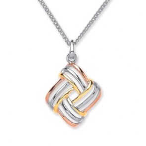3 Colour Plated Silver Pendant Knot