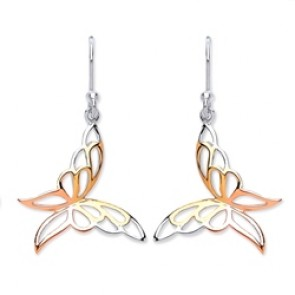 3 Colour Plated Silver Earrings H.W. Butterfly Drops
