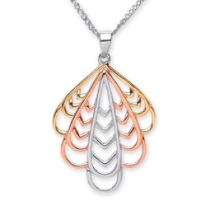 3 Colour Plated Silver Pendant Open Leaf