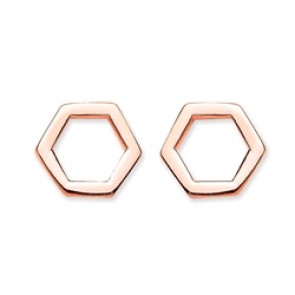 Rose Gold Plated Silver Earrings F.F. Open Hexagon Studs