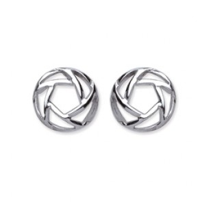 Rhodium Plated Silver Earrings F.F. Open Round Studs