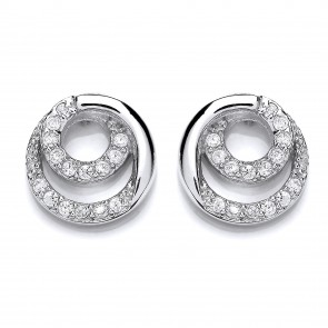 RP Silver Earrings FF CZ Round Studs