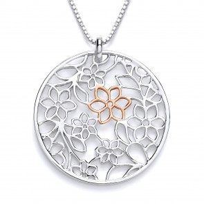 RP/RGP Silver Pendant Flower Round