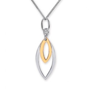 Rhodium Plated/Gold Plated Silver Pendant Double Ellipse