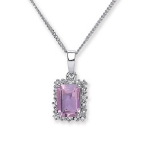 Rhodium Plated Silver Pendant Amethyst/C.Z. Oblong