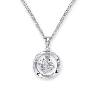 Rhodium Plated Silver Pendant C.Z. Round