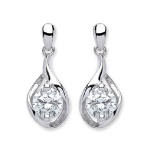 Rhodium Plated Silver Earrings F.F. C.Z. Drops