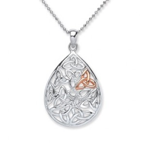 Rhodium Plated/Rose Gold Plated Silver Pendant Celtic
