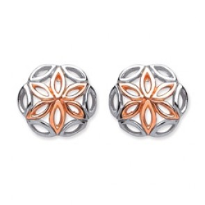 Rhodium Plated/Rose Gold Plated Silver Earrings F.F. Round Studs