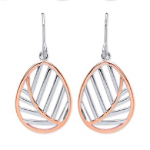 Rhodium Plated/Rose Gold Plated Silver Earrings H.W. Leaf Drops