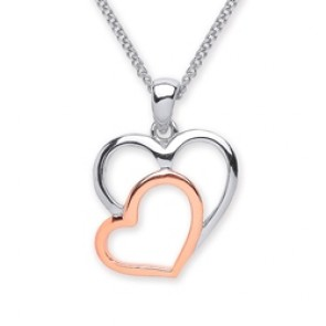 Rhodium Plated/Rose Gold Plated Silver Pendant 2 Hearts
