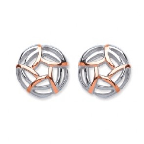 Rhodium Plated/Rose Gold Plated Silver Earrings F.F. Open Round Studs