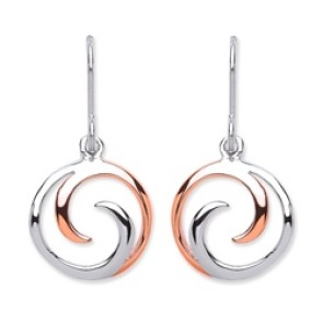Rhodium Plated/Rose Gold Plated Silver Earrings H.W. Circle Drops