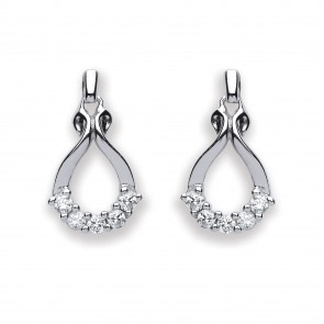 RP Silver Earrings FF CZ Open Drops