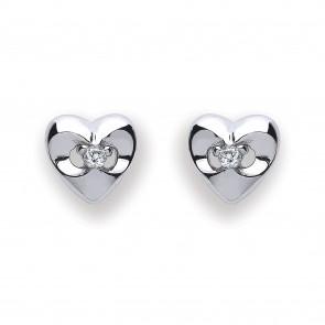 RP Silver Earrings FF CZ Heart Studs