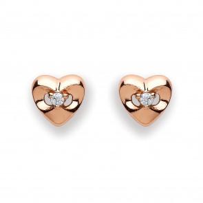 RGP Silver Earrings FF CZ Heart Studs
