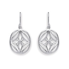 RP Silver Earrings HW Oval Open Fancy Drops