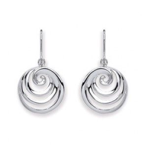 RP Silver Earrings HW Round Swirl Drops