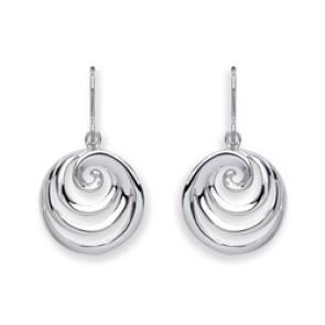 RP Silver Earrings HW Round Swirl Drops