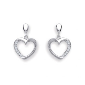 RP Silver Earrings FF CZ Open Heart Drops