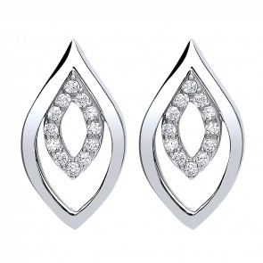 RP Silver Earrings FF CZ Open Fancy Studs