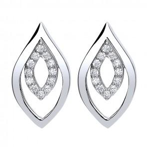 RP Silver Earrings FF CZ Open Fancy Studs