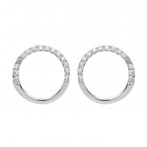 RP Silver Earrings FF CZ Open Circle Studs