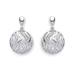 RP Silver Earrings FF CZ Round Fancy Drops