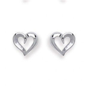 RP Silver Earrings FF Matt/Polish Open Heart Studs
